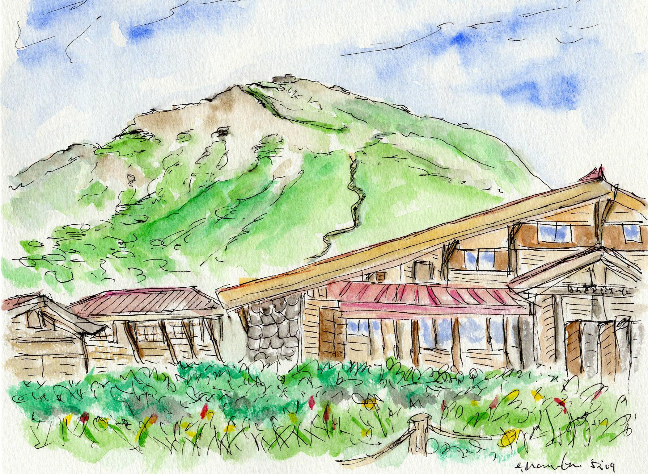 山小屋からの白山山頂