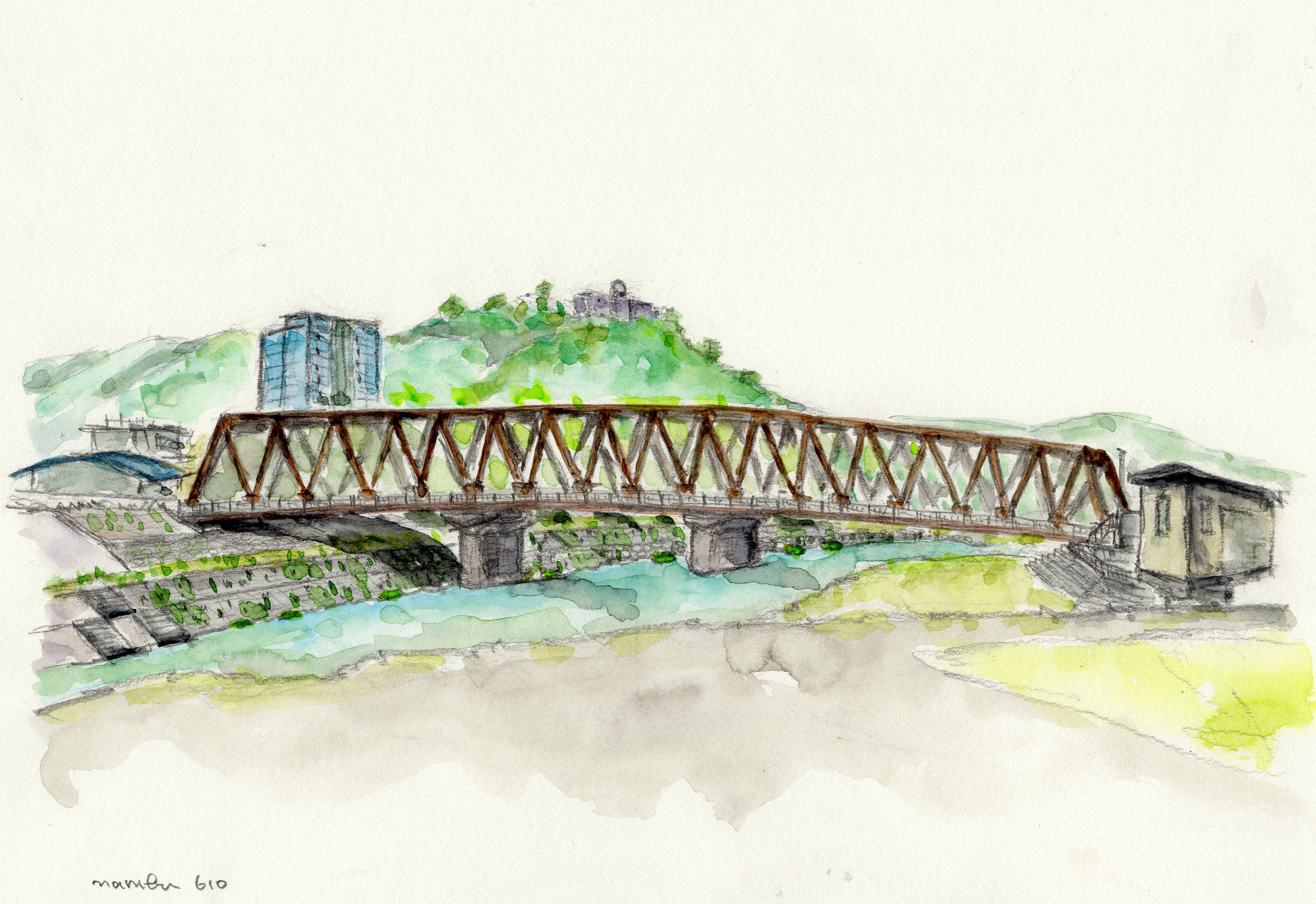 鉄橋と足羽山